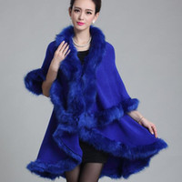 Wholesale Knitted Fox Fur Cardigans - Wholesale-New Fashion Noble Long Wool Cashmere Imitation Fox Fur Collar Trim Coat Women Cardigan Faux Fur Poncho Shawl cape D1649