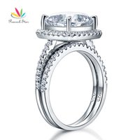 Wholesale Diamond Red Rings Gold Solid - ashion Jewelry Rings Peacock Star 5 Ct Cushion Cut Created Diamond Wedding Engagement Ring Set Solid 925 Sterling Silver Wedding Jewelry ...