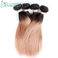 Fairgreat T1B / 27 Ombre Brazilian Straight Hair Wefts Dois Tone Hair Bundles Malaio Peruvian Indian Mongol Remy Hair Extensions