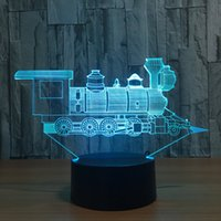 Train 3D Illusion LED Lamp Night Light 7 RGB Lights DC 5V USB Alimentado AA Battery Dropshipping Retail Box