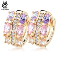 Wholesale Cadmium Jewelry - Orsa Jewelry Gold - color Unique Stud Earrings with Multicolor AAA Zircon Stone Nickel Cadmium free Jewelry OME28