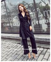 Wholesale Wide Legs Pants Suit - Women's autumn new fashion v-neck medium long velvet top and wide leg long pants 2 pieces suit twinset SML