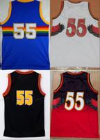 Wholesale Black Mesh Shirts - Throwback Dikembe Mutombo Basketball Jerseys 55 Dikembe Mutombo Retro Black White Red Blue Mesh Stitched Shirts Basketball Jersey S-XXL