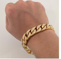Wholesale Jewelry Simulated Diamonds - men CZ bracelet Gold Plated Men Charm Simulated Diamond Miami Cuban Bracelets Iced Out Bling Rhinestone Chains Hip Hop Jewelry Gifts
