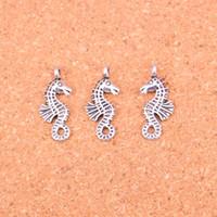 Wholesale Antique Seahorse - Wholesale 90pcs Fashion Antique silver hippocampus seahorse charms metal pendants for diy jewelry findings 23*11mm