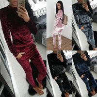 Wholesale Velvet Suit Tracksuit - Autumn And Winter Ladies Tracksuits Women 2 Pieces Set Fashion Velvet Suit Athletic Wear Casual Hoodies And Long Pants