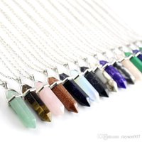 Wholesale Lucite Prisms - Natural Stone Bullet Shape Pendant Necklaces Stainless Steel   Leather Chains Hexagonal Prism Crystal Jewelry for women and men