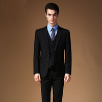 Wholesale Good Brand Black Suit - Good Quality Customized Business Black Men's Suits New Brand Business Tuxedo Fashion Groom Blazer Single Breasted Coat