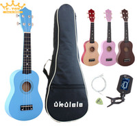 """Wholesale Guitar Tuners Picks - Wholesale-21"""" four colour Ukulele Beginners Children Christmas Gifts Hawaii Four String Guitar + Bag+Tuner+String+Pick"""