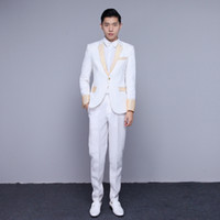 Wholesale Theatrical Dresses - Wholesale- suit annual dress suits gold stage host performance studio men 2017 chorus Wedding Prom Theatrical Tuxedos