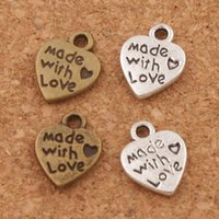 Wholesale Antique Bronze Heart Bead - Made With Love Heart Charm Beads Pendants MIC 9.7x12.5mm Antique Silver Bronze Fashion Jewelry DIY L319