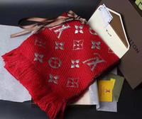 Wholesale Two Side Poncho - 2018 Designer Warm Flower Scarves Luxury Brand Winter LOGOMANIA SHINE Scarf Women and Men 100% Two Side Black Red Wool Scarf Fashion Women