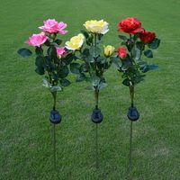 ingrosso fiori di giardino solare potenza-3pcs / lot lampada solare all'aperto del fiore della luce del LED alimentata solare per la lampada di notte decorativa del percorso di modo del giardino del percorso dell'iarda