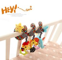 Wholesale Monkey Bedding - Wholesale- candice guo! Sozzy cartoon animal monkey giraffe elephant discovery activity spiral rattle bed hang baby toy gift 1pc