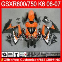 Wholesale Suzuki Gsxr Fairing Orange K6 - 8Gifts 23Colors Body For SUZUKI GSX-R750 GSXR600 GSXR750 06 07 10HM39 gloss Orange GSX R600 R750 K6 GSX-R600 GSXR 600 750 2006 2007 Fairing