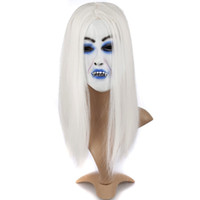 Wholesale zombie bride - Wholesale- Scary Mask Halloween Toothy Zombie Bride With White Hair Horror Ghost Mask