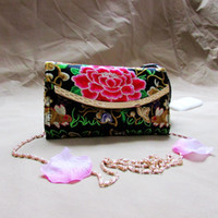 Wholesale Embroidered Candy Bags - Yunnan folk style embroidery peony flower chain bag purse embroidered female Shoulder Messenger ladies hand bag wholesale