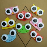 étui à lentilles de contact pour animaux achat en gros de-Doux Cartoon 3D grands yeux lentilles de contact boîte cas hibou grenouille forme animale lentille de contact cas livraison gratuite