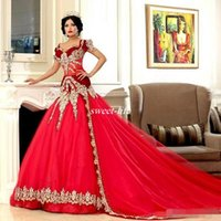 Wholesale India Wave - Arabic Jajja-Couture Mermaid Wedding Dresses Dark Red Sheer Waist with Gold Applique Beading Short Sleeves 2017 Plus Size India Bridal Gowns