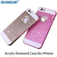Wholesale Diamond Logo Iphone - Wholesale Ultra Thin With Brand Logo Hole Hard Plastic Phone Bag For iphone 5S 6 plus 7 plus Glitter Bling Crystal Diamond case