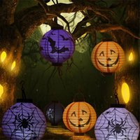 Wholesale Halloween Pumpkin Lantern - New Hot Portable Hanging Paper Lantern Lamp Halloween Party Decoration Lanterns Skull Bones Bat Spider Pumpkin LED Light