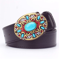 Wholesale turquoise blue gemstone - Wholesale- Fashion women' leather belt Inlaid turquoise Metal buckle colored gemstones decorative belts gift for women flower belt