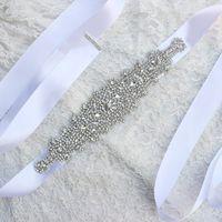 Discount wedding dress crystal sash blush - Luxury Bridal Belt 2017 Rhinestone Crystals Adornment Wedding Dress accessories Belt 100% Hand-made White Ivory XW061 Blush Bridal Sashes