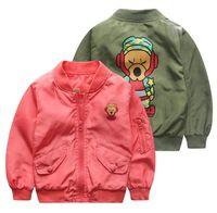 Wholesale Monkey Children Clothes - aape Jackets for Boy Coat Cartoon Printed monkey jacket Army Green Boy's Windbreaker Outerwear Children Clothes