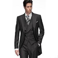 chalecos de boda para hombre negro al por mayor-Custom Made Black Groom Tuxedos Groomsmen Estilo de la mañana Hombre Hombre Trajes de boda Prom Formal Novio Traje (chaqueta + pantalones + chaleco)