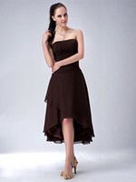 Wholesale Informal White Wedding Dress - Chocolate High Low Strapless Ruched Chiffon Bridal Bridesmaids Dresses Informal Cheap Wedding Party Dresses