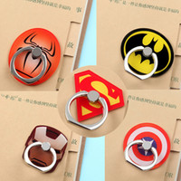 Wholesale batman mobile resale online - Universal Degree Super Hero Superman Batman Finger Ring Holder Phone Stand For iPhone s Samsung Mobile Phones With Retail Box DHL