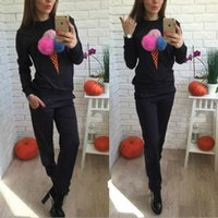 Wholesale Ladies Casual Clothes Wholesalers - 2016 New Fashion Casual 100% Cotton Women Autumn Winter Long Sleeve Pullover + Long Pant 2Pcs Lady Tracksuits Clothing 3Colors S-XL EA8856