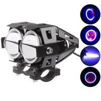 Wholesale Led Cree Turn Signal Motorcycle - U7 CREE 125W Car Motorcycles LED Fog Light 4 Color Circles DRL Motorcycle Headlights Driving Lights Spotlight MOT_20A