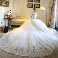 Wholesale Sexy V Com - Luxury Cathedral Train Wedding Dresses with Lace Sleeve V Neck Ball Gown Princess Bridal Gowns Vestido de noiva 2017 com cristais