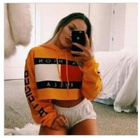 Wholesale Crop Tops Women - Striped Fashion Killa Hooded Cropped Top Women Crop Tops Winter Short Sweatshirts Women`s Hoodies,Harajuku Skate Jumper Pullover