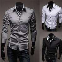 Mode Mens Fashion Luxus Stilvolle Casual Designer Kleid Shirt Muscle Fit Shirts 3 Farben 5 Größen