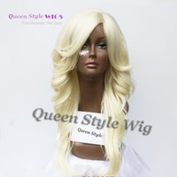 Wholesale Long Pale Blonde Wigs - Sexy women wigs pastel blonde long wavy eversion curly Hair wig oblique fringe hairstyle wig synthetic pale blonde color wig