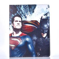 Wholesale Ipad Mini Spider Man Cover - Cartoon Superman Batman Spider Man Pattern Tablet PU Leather Case Protective Cover for ipad mini air 2 3 4 5 6