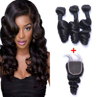 Wholesale loose weave human hair closure online - Brazilian Loose Wave Human Remy Hair Weaves With x4 Lace Closure Bleached Knots g pc Natural Color Double Wefts Hair Extensions