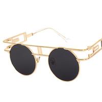 yuvarlak steampunk güneş gözlüğü gözlükleri toptan satış-Moda Steampunk Gözlük Erkekler Kadınlar Yuvarlak Vintage Hippi Güneş Gözlüğü Steampunk Gözlük Gotik Retro Gözlük UV400 Koruma