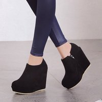 Wholesale Synthetic Suede Platform Heel - Free shipping Lady Synthetic Suede Zip Platform High Wedge Heel Solid Ankle Boots Shoes