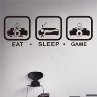 Wholesale Game Television - Eat Sleep Game Wall Decal Gaming Joystick Playing Sticker Wall Decal Gaming Decor Gamer Ps4 Geek Wall Art Sticker