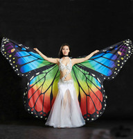 Wholesale Dancing Costumes Kids - Women Butterfly Dancing Wings Girls Belly Dance Openging Split Wing Monarch Cape Costume Festival Wear Adult Kids 2 Sizes