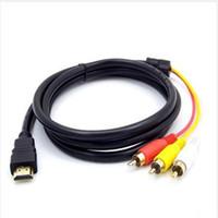 av hdmi führen großhandel-1,5 Mt 5Ft HDMI Zu 3 RCA AV Video Audio Adapter Kabel Für HDTV AV Kabel Top Qualität