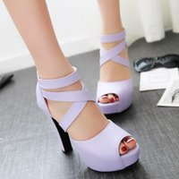 Wholesale Size 32 Sandals - Women Gladiator High Heel Sandals Fashion Western Women Shoes Chunky Heel Zipper Cross Straps Fish Mouth Sandals Size 32-47
