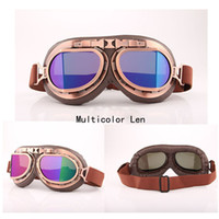 Wholesale Vintage Dustproof - 2017 High Quality Cheap Retro Vintage Aviator Pilot Motorcycle Cruiser Scooter Biker Goggles For Halley Windproof Dustproof Outdoor Eyewear