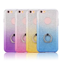 Barato Brilho Do Inclinação Do Caso Do Iphone-Para ZTE Zmax Pro Glitter Bling Gradient Color Case para Iphone X 8 7 6 6s Plus Samsung S8 Soft Tampa de luz colorida com suporte de anel OPPBAG
