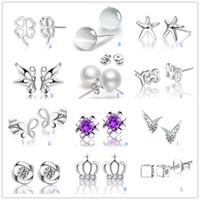Wholesale Earrings Sterling Silver Stamped 925 - S 925 Stamped Sterling Silver Plated Mixed Crystal Opal Pearl stud earrings Crown wing Letters earings Fashion brand jewellery for women