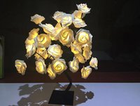 zimmerdekoration rosen großhandel-Rosen Bett Scheinwerfer Nachtlicht Mädchen Herz Raumdekoration Tischlampe Schlafzimmer Schlafsaal Layout Laterne String AC110V-220V