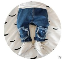 Wholesale Smile Trousers - Baby jeans fashion toddler kids smiling face applique cowboy pants new boys girls tassel trousers 2017 infant spring clothing T3439